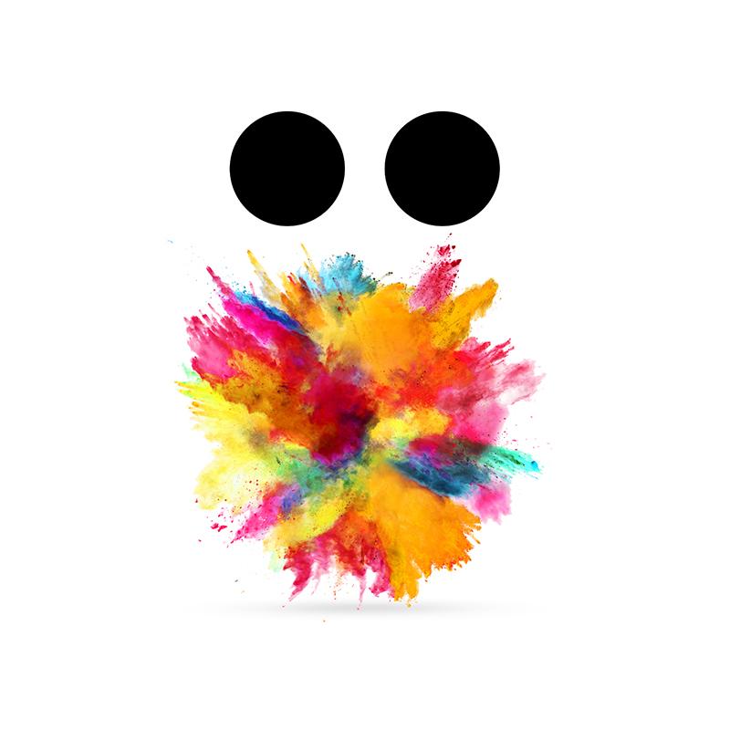 En explosion av färger med två svarta prickar ovanför.